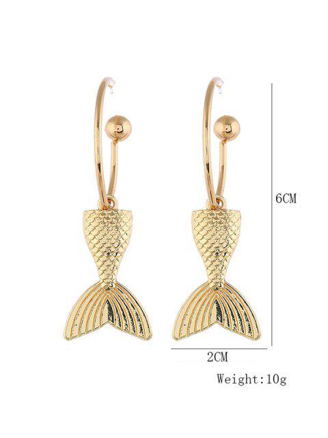 Boucles d'Oreilles au Crochet en Alliage Sirène Queue de Poisson - Or  Mobile
