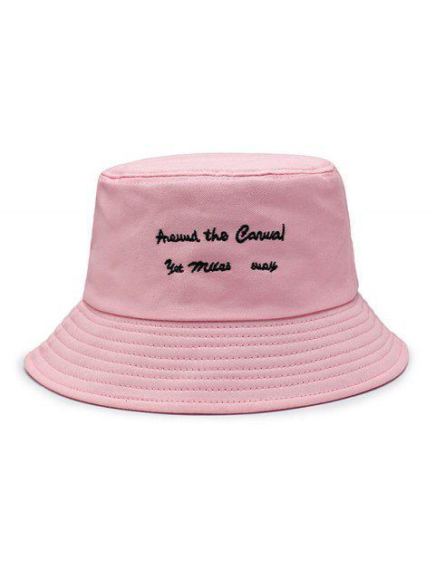 Chapeau Seau Caractère Brodé - Rose Léger   Mobile
