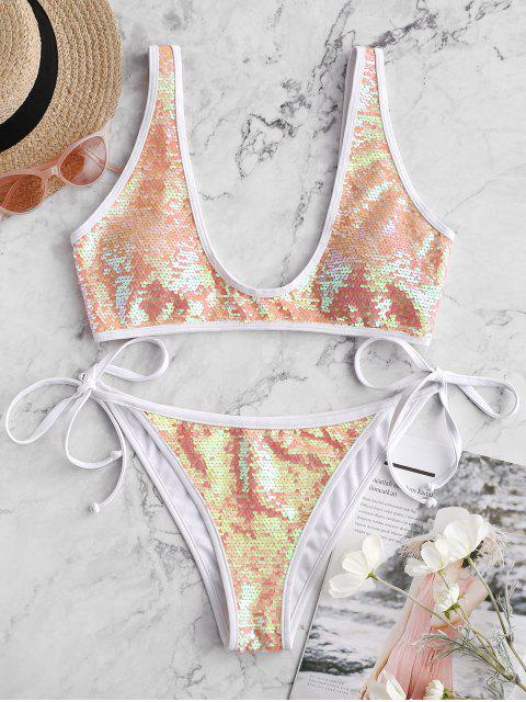 hot ZAFUL Contrast Piping Tie Side Sequin Bikini Swimsuit - MULTI-A M Mobile