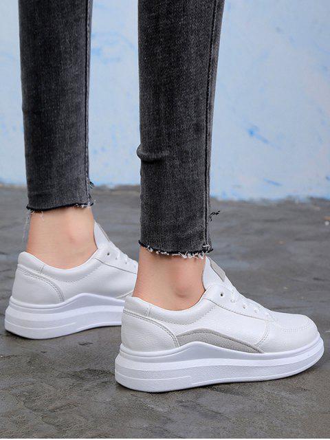 lady Contrast Trim PU Leather Skate Shoes - GRAY EU 37 Mobile