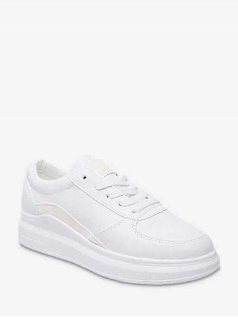 trendy Contrast Trim PU Leather Skate Shoes - WHITE EU 37 Mobile