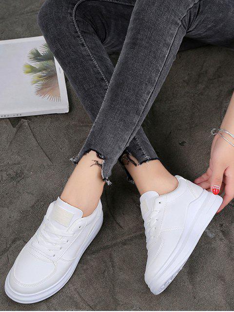 ladies Contrast Trim PU Leather Skate Shoes - WHITE EU 36 Mobile