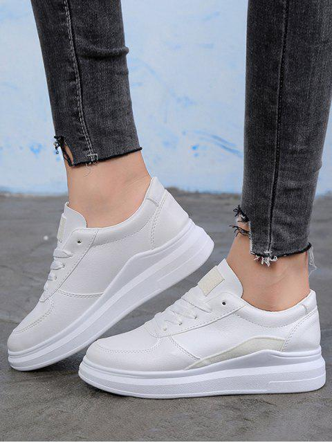 trendy Contrast Trim PU Leather Skate Shoes - WHITE EU 40 Mobile