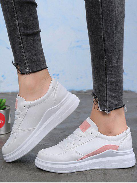 online Contrast Trim PU Leather Skate Shoes - PINK EU 36 Mobile