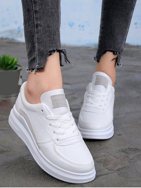 outfit Contrast Trim PU Leather Skate Shoes - GRAY EU 40 Mobile