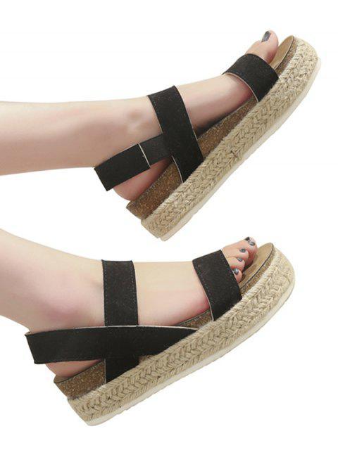 women's Slip On Rome Platform Espadrille Sandals - BLACK EU 36 Mobile