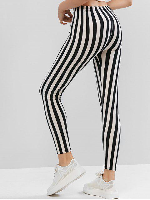 trendy High Waisted Pull On Stripes Leggings - BLACK ONE SIZE Mobile