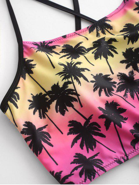 ZAFUL Coconut Tree Lace Up Traje de baño Tankini con pliegues fruncidos - Multicolor-B XL Mobile