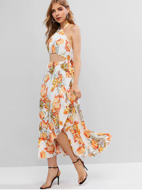 women's Floral Ruffles Cut Out Maxi Dress - MULTI-A XL Mobile