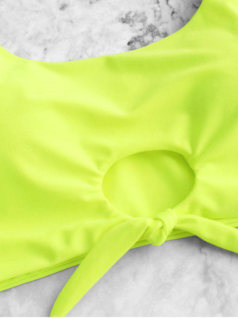 outfit ZAFUL Scooped Keyhole Tummy Control Tankini Swimsuit - GREEN YELLOW M Mobile