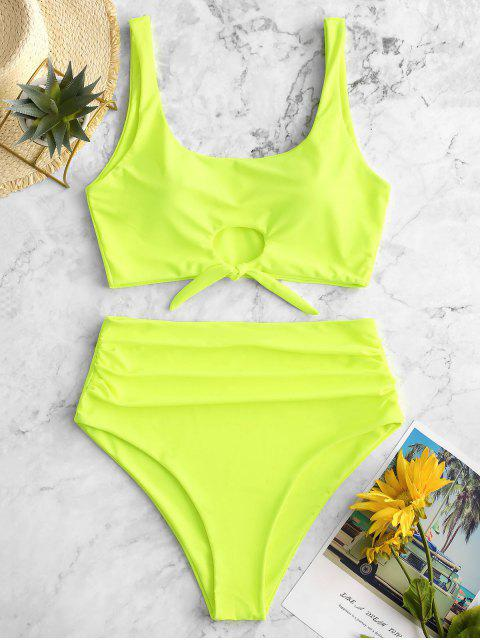 ZAFUL traje de baño Tankini con control de barriga y escote redondo - Verde Amarillo S Mobile