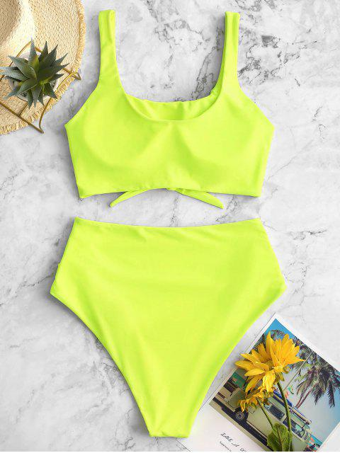 outfits ZAFUL Scooped Keyhole Tummy Control Tankini Swimsuit - GREEN YELLOW S Mobile