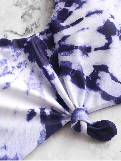 ZAFUL Tie Dye С вырезом С бантом Слитный Купальник - Многоцветный-A M Mobile