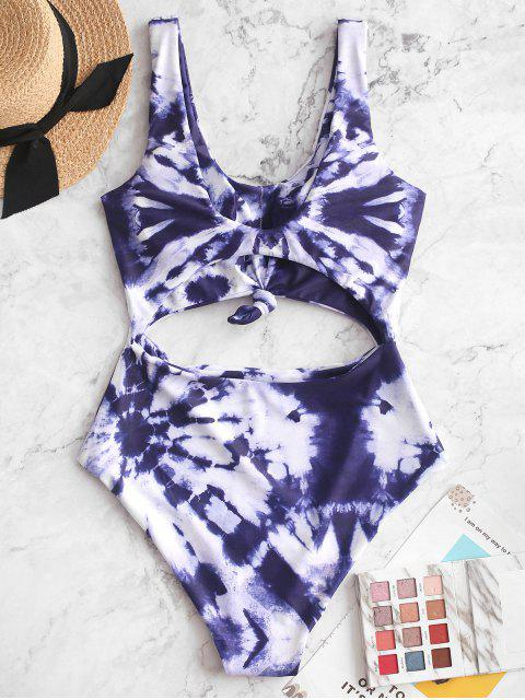 fashion ZAFUL Tie Dye Knotted Cut Out One-piece Swimsuit - MULTI-A XL Mobile