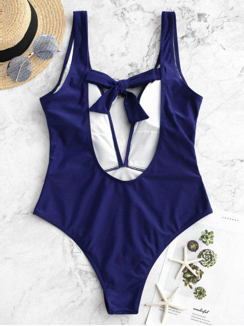 women's ZAFUL Plunge Knot Low Back One-piece Swimsuit - BLUEBERRY BLUE M Mobile