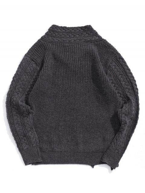實心針織開衩披肩領套衫毛衣 - 灰色 XS Mobile