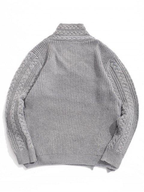 實心針織開衩披肩領套衫毛衣 - 灰色雲彩 M Mobile