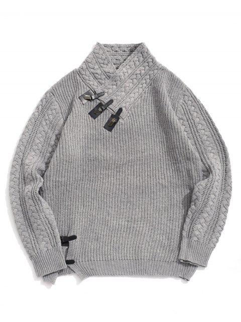實心針織開衩披肩領套衫毛衣 - 灰色雲彩 S Mobile