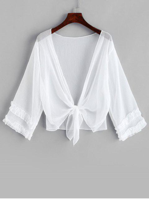 shops Tie Hem Ruffle Plunging Cover Up - WHITE ONE SIZE Mobile