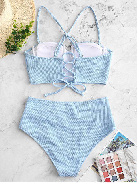 ZAFUL羅紋推高肚子控制Tankini泳裝 - 輕的天藍色 S Mobile