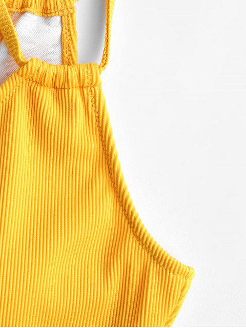 unique ZAFUL Tie Textured Ribbed One Shoulder One-piece Swimsuit - BRIGHT YELLOW M Mobile