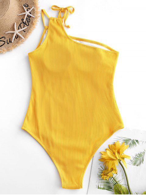 ZAFUL Tie Traje de baño de una pieza de canalé acanalado con textura - Amarillo Brillante L Mobile