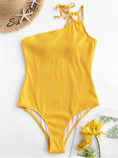ZAFUL Tie Traje de baño de una pieza de canalé acanalado con textura - Amarillo Brillante XL Mobile