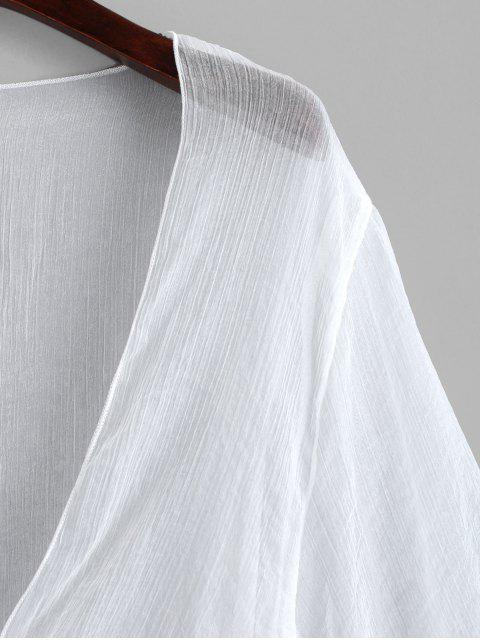 trendy Tie Front Plunging Three Quarter Sleeves Cover Up - WHITE ONE SIZE Mobile