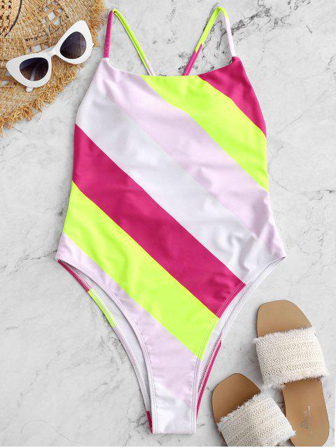 affordable ZAFUL Color Block Drop Armhole High Cut One-piece Swimsuit - MULTI-A S Mobile