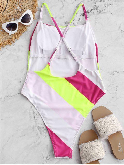 buy ZAFUL Color Block Drop Armhole High Cut One-piece Swimsuit - MULTI-A M Mobile