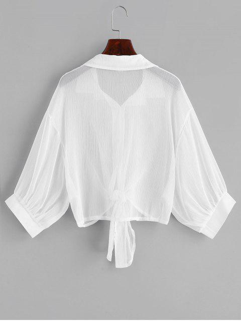 women's Drop Shoulder Button Up Tie Hem Cover Up - WHITE ONE SIZE Mobile