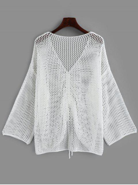 new Open Knit Drop Shoulder Cinched Cover Up - WHITE ONE SIZE Mobile