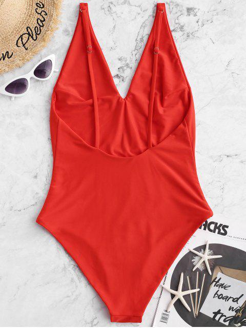 sale ZAFUL V Neck Basic One-piece Swimsuit - BRIGHT ORANGE M Mobile