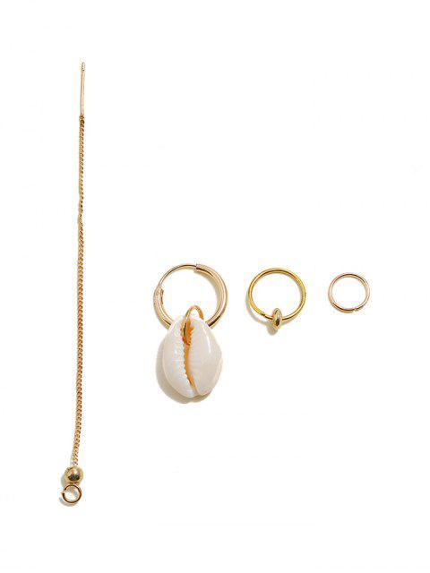 new 4Pcs Cowrie Shell Hoop Ear Thread Earrings Set - GOLD  Mobile
