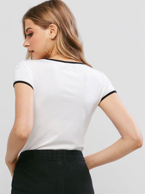 Druck Knopf Schmetterling Ringer Bodysuit - Weiß XL Mobile