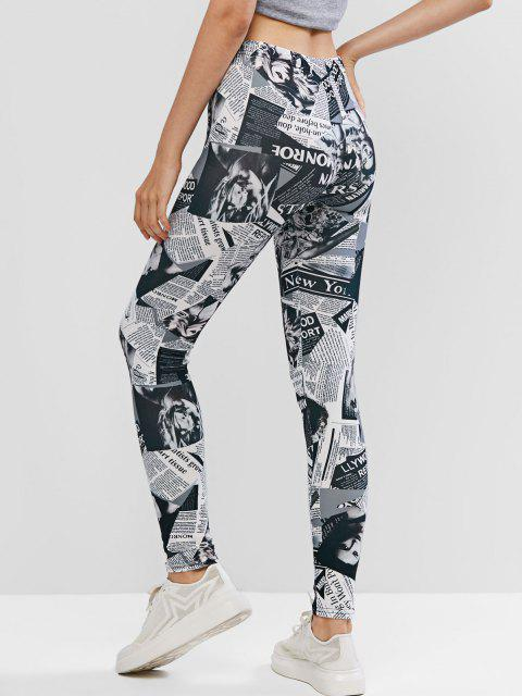 shops High Waisted Newspaper Print Leggings - MULTI ONE SIZE Mobile