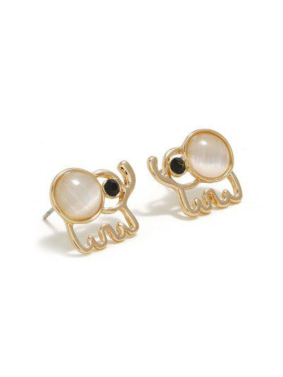 Elephant Hollow Faux Opal Earrings - Gold