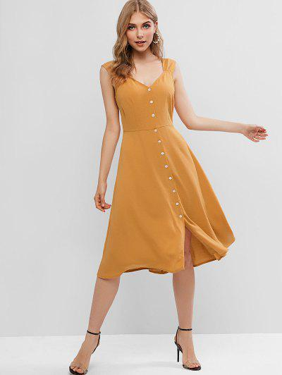 efd517d62 ... ZAFUL Button Fly Sweetheart Neck Midi Backless Dress - Caramel M