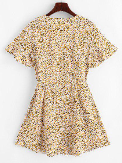 ZAFUL Seam Pockets Floral Button Up Mini Dress, Goldenrod