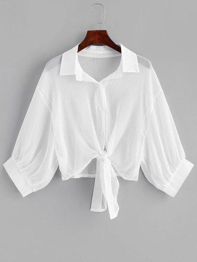 Drop Shoulder Button Up Tie Hem Cover Up - White