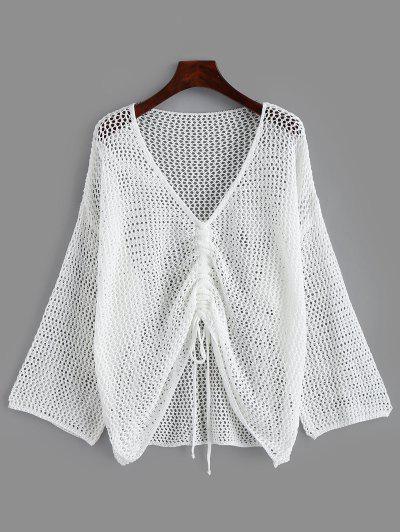 Geöffnete Strickpullover-Schulter - Weiß