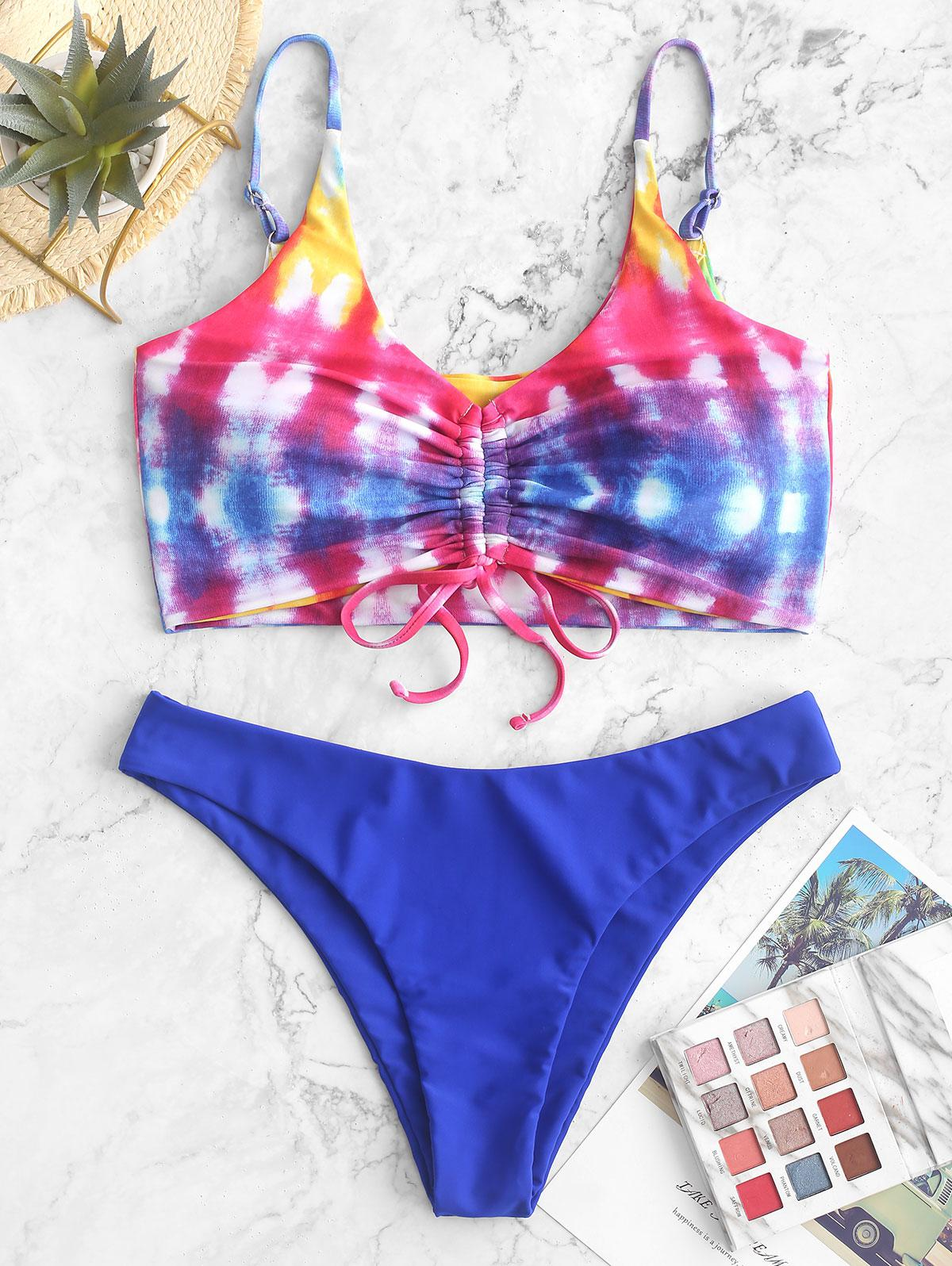 ZAFUL Rainbow Tie Dye Cinched Tank Bikini Swimsuit, Multi-a