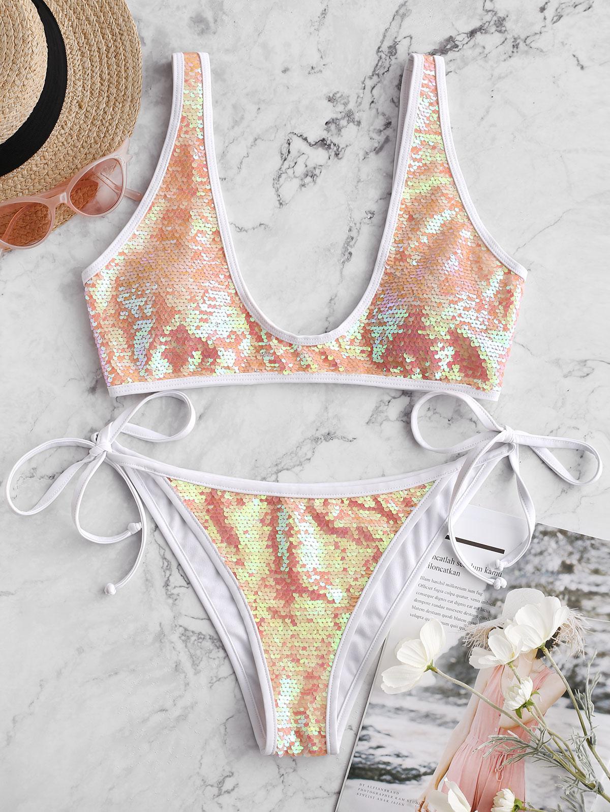 ZAFUL Contrast Piping Tie Side Sequin Bikini Swimsuit thumbnail