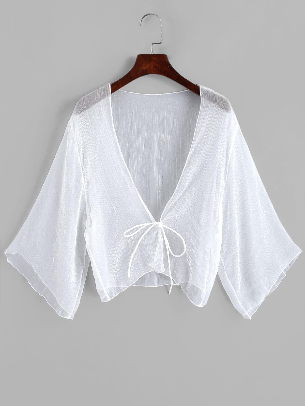Tie Front Plunging Three Quarter Sleeves Cover Up