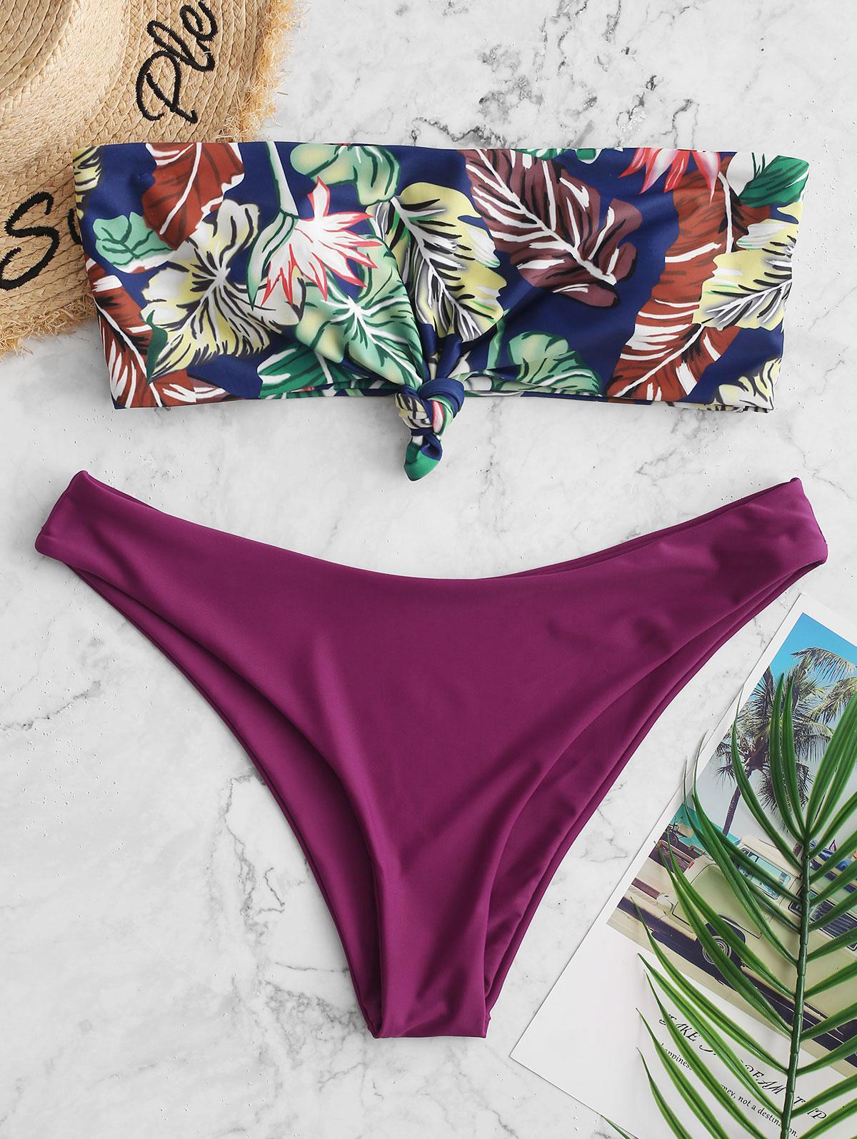 ZAFUL Knot Tropical Leaf Print Bikini Bandeau Swimsuit, Plum velvet