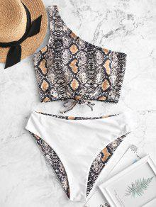 Snake Print One Shoulder Tankini Swimwear
