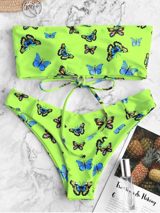 outfit ZAFUL Butterfly Print Lace Up Bandeau Bikini Swimwear - MULTI-B M