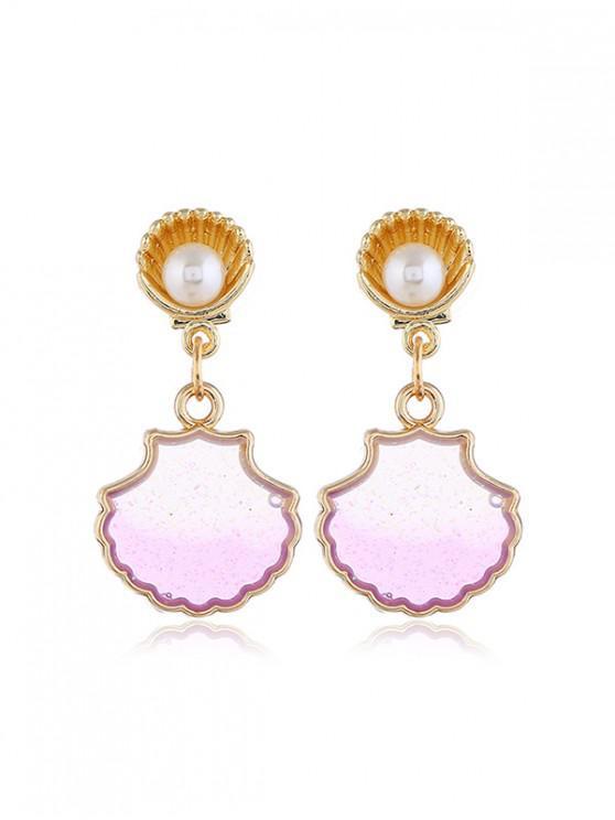 Shell Faux Pearl Glitter Drop Earrings GOLD