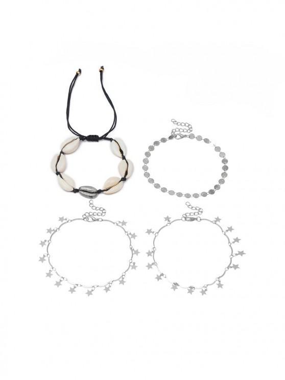 Design 4 Coquille De Cheville Etoile PiècesArgent Bracelet W2eED9IYH