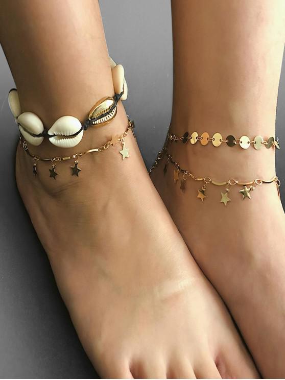 4件星星貝殼設計腳鍊 - 金